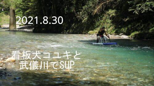 2021.8.30看板犬コユキと武儀川でSUP